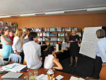Picture of team members working on the vision
